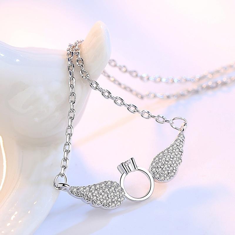 Novo produto cruz clavícula bonito asas de anjo mulheres colares all-match 925 sterling chain gargantilha colar de cristal de cor de prata