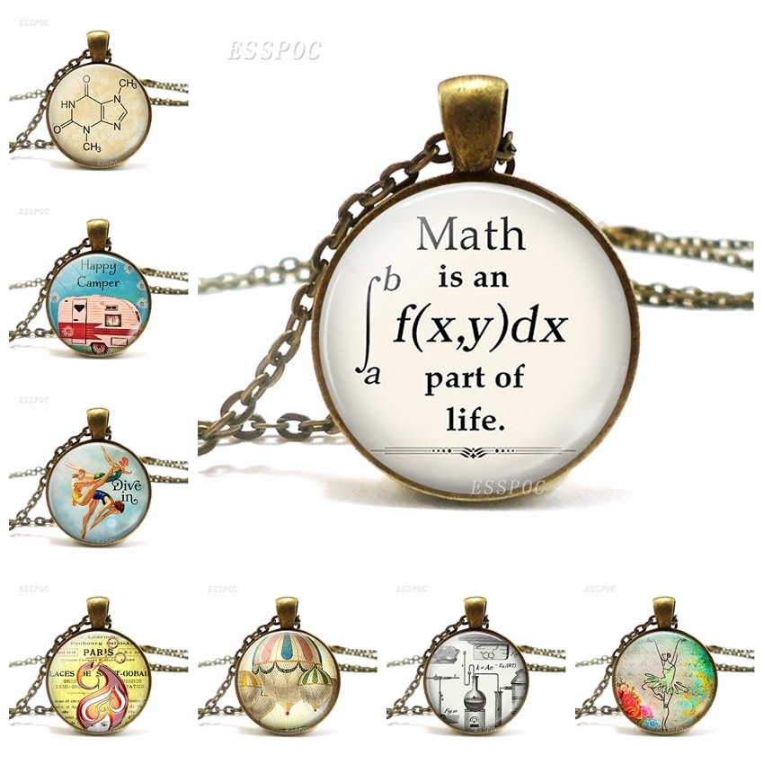 Math es una parte Integral de la vida collar de cristal estilo cabujón exquisito colgante regalo para estudiantes regalo de graduación