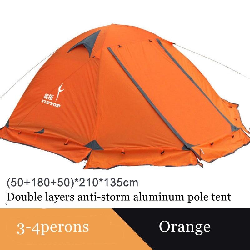 Flytop التخييم خيمة في الهواء الطلق 2 أشخاص أو 3perons طبقة مزدوجة الألومنيوم القطب مكافحة الثلوج في الهواء الطلق خيمة عائلية مع تنورة الثلوج