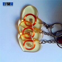 125 KHZ EM4100/TK4100 KIMLIK Şeffaf Trops Tutkal Kart RFID Anahtar Etiketi Okumak Sadece Anahtarlık Erişim kontrol Kartı (Kalp Tipi)
