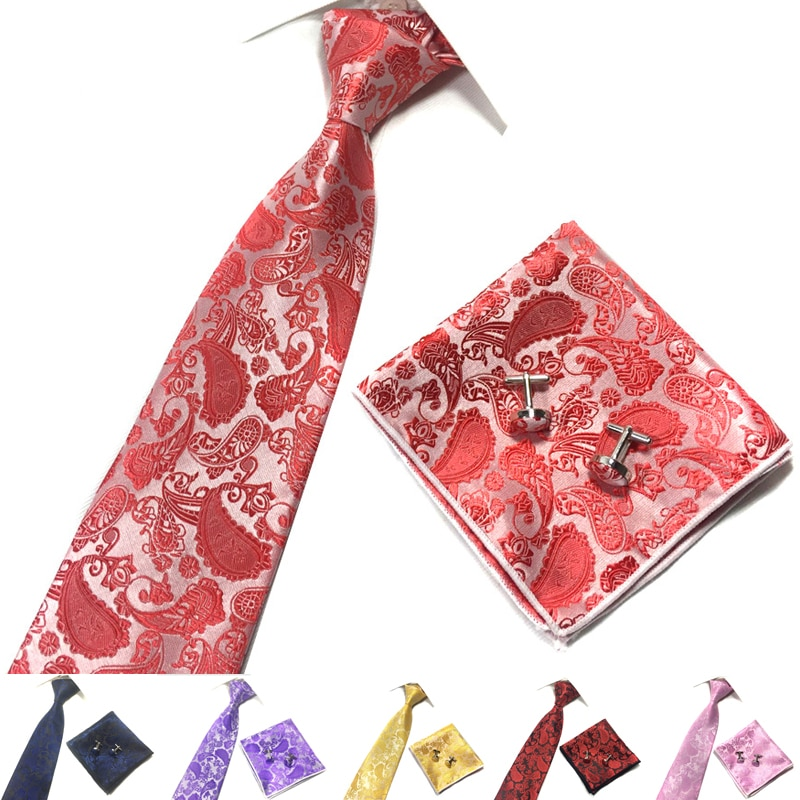 2018 Good Quality 9 Cm Floral Ties Sets Paisley Polyester Woven Men Neck Ties 22 Cm Paisley PocketSquare Stropdas Sets