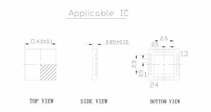 QFN24 MLF24 WLCSP24 to DIP24 Double-Board Programming Socket Pitch 0.5mm IC Body Size 4x4mm MPU6050 Flash Adapter SMT Test Sock