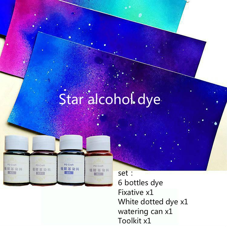 Estrela álcool corante de couro conjunto com ferramentas efeito gradiente diy material vegetal bronzeada couro agente tingimento