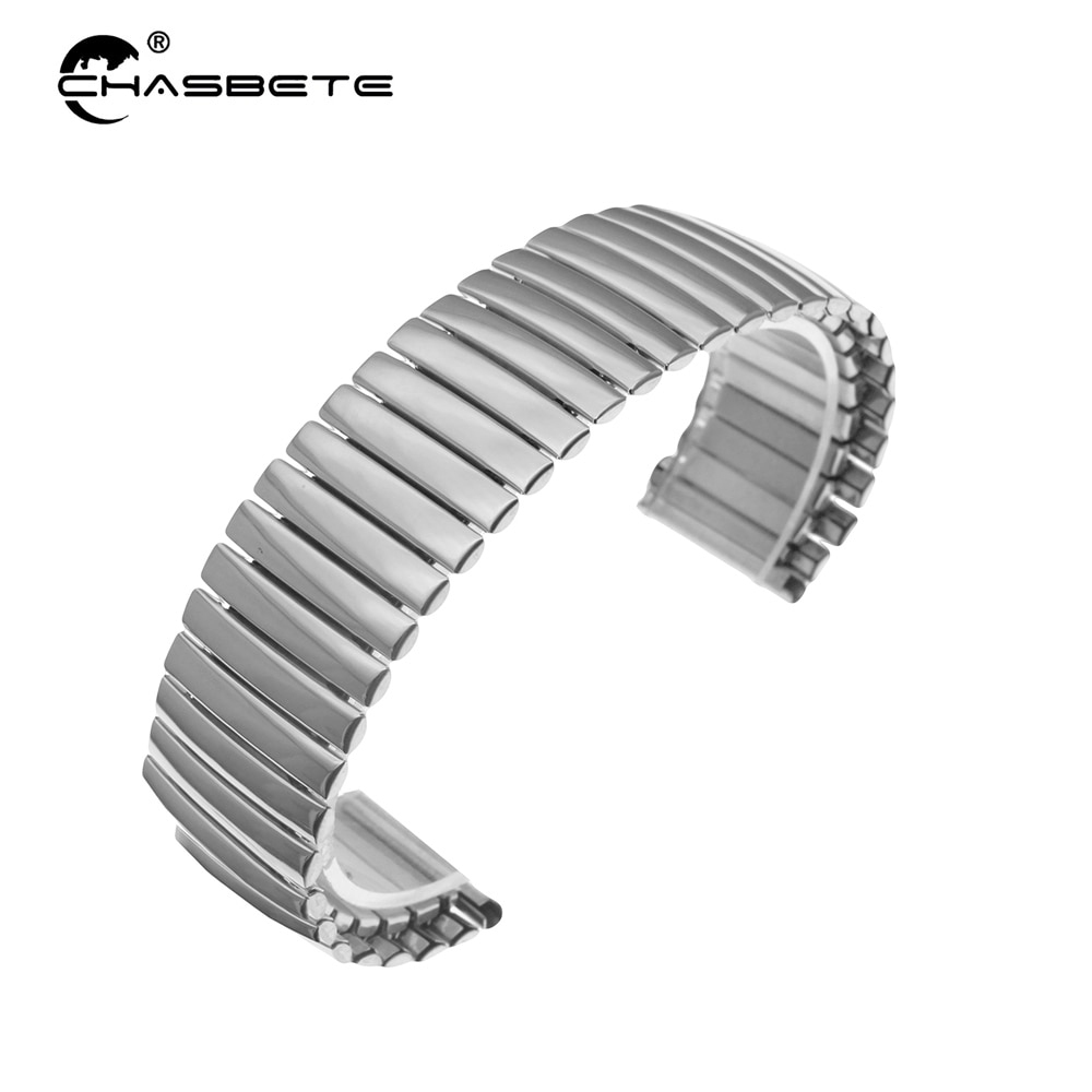 Stainless Steel Watch Band 22mm for Pebble Time / Steel Elastic Watchband Strap Loop Wrist Expansion Belt Bracelet Silver Black