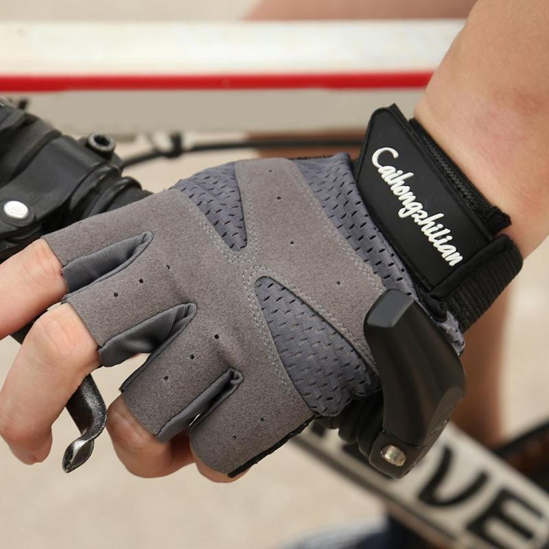 Deportes Fitness Anti-sudor antideslizante al aire libre ciclismo transpirable medio dedo Guantes negro gris accesorios de ciclismo L/XL
