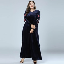 Otoño Invierno mujeres terciopelo Abaya musulmán Maxi vestido Dubai abayas manga larga Kaftan islámico Vestidos azul marino vestido tamaño grande
