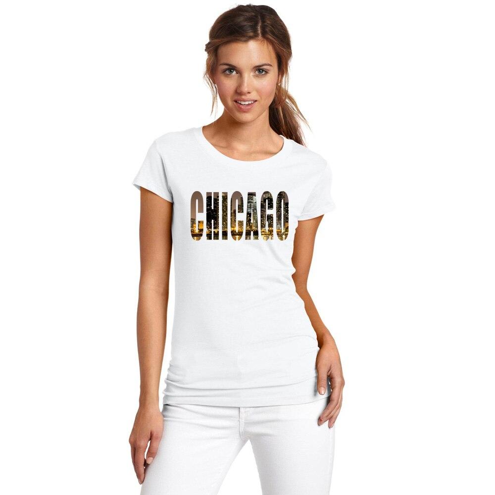 BLWHSA Purpose Tourism City Chicago Design Women T Shirt Short Sleeve Casual T-shirts Chicago Printed Girl Tops Fashion Tee