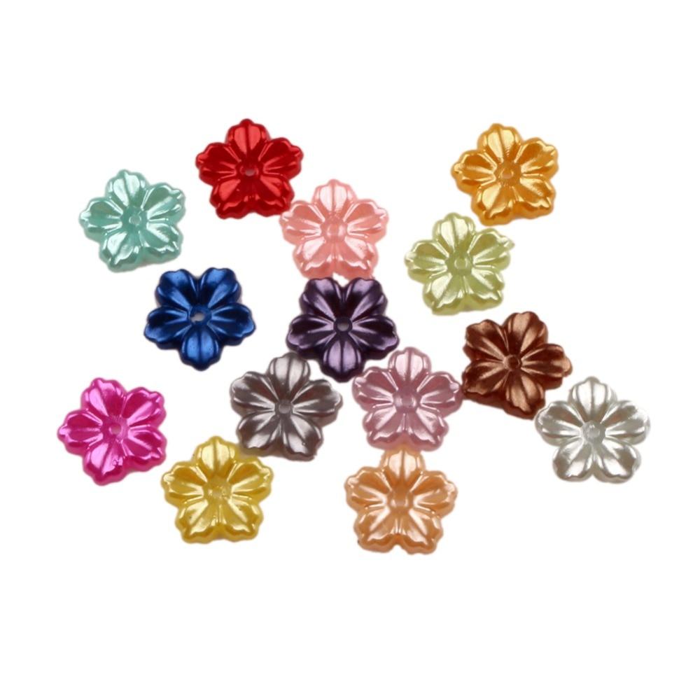 Lf misturado flor artesanato abs resina meia pérolas flatback cabochon contas para pano needlework diy scrapbooking decoração 200 pçs
