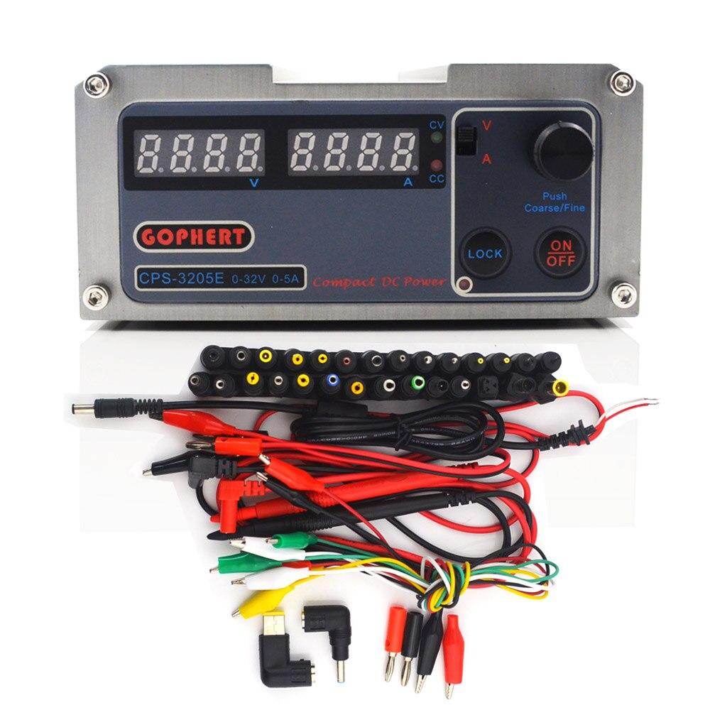 Gophert CPS-3205E precisão compacto digital ajustável dc fonte de alimentação ovp/ocp/otp baixa potência 32v5a 110 v-230 v 0.01 v/0.01a + 38 plug