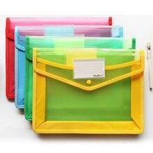 2 uds tamaño A4 transparente PP bolsa de documentos de archivo lápiz estuche protector carpetas con ranura para tarjeta para oficina escuela papelería