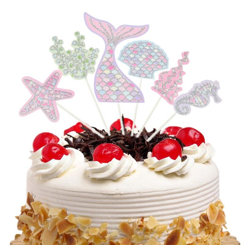 6 шт./компл., флаги для океанских тортов, кекс, русалка, детский топ для тортов на день рождения, свадьбу, свадьбу, обертка для тортов, вечерние ...