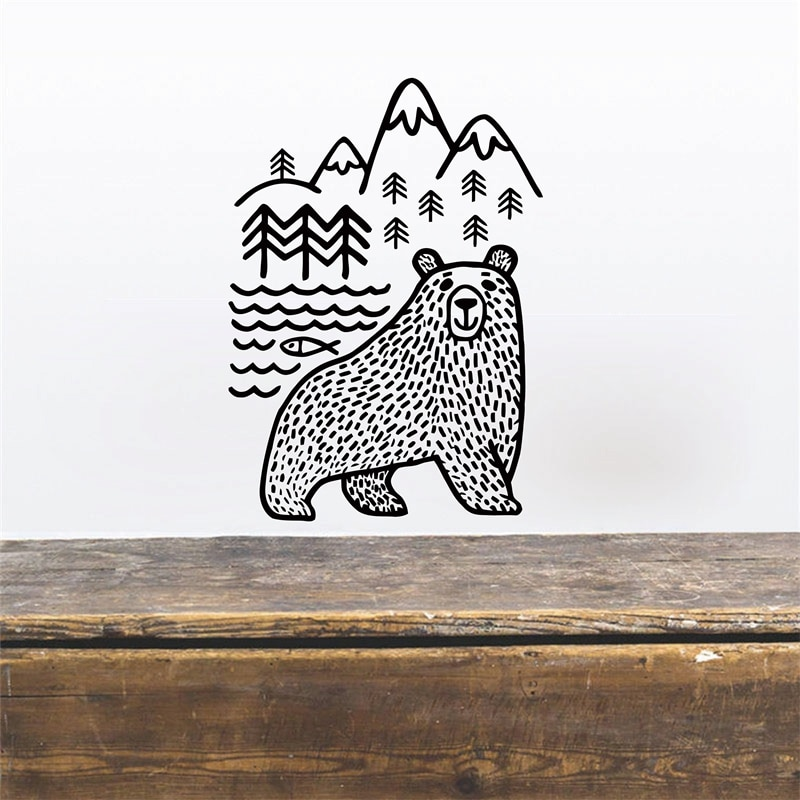 Pegatina de pared de oso salvaje, montañas, mamá, oso, vinilo, pegatina de pared, decoración para el hogar del bebé