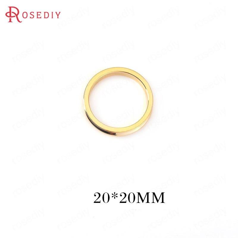 (34667)6 uds. 20*20MM 24K Color dorado latón círculo redondo dijes colgantes de alta calidad Diy joyería Accesorios