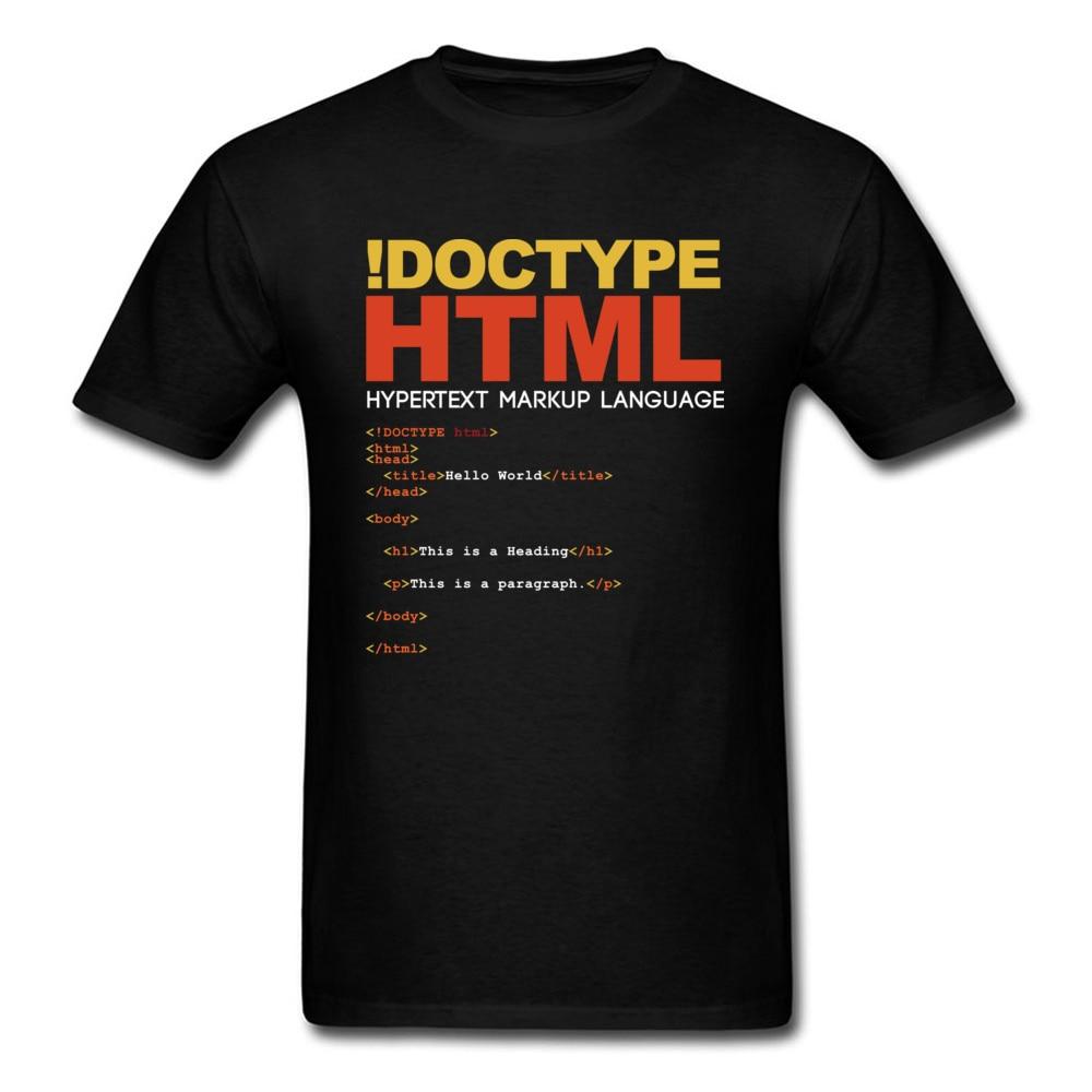 Geek men camiseta html t camisa drop shipping camiseta engraçado topos! Doctype carta t impresso verão preto roupas tecido de algodão