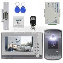 DIYSECUR-serrure de grève 7 pouces TFT   Porte-vidéo couleur, interphone visuel, sonnette didentification déverrouillage RFID à Vision nocturne, caméra