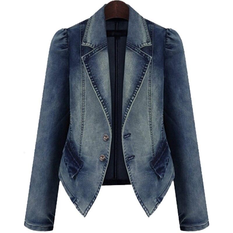 Nuevas chaquetas vaqueras Vintage de primavera y otoño para mujer, Tops casuales, blusas holgadas de talla grande 5XL, ropa vaquera femenina corta, abrigos básicos AA763