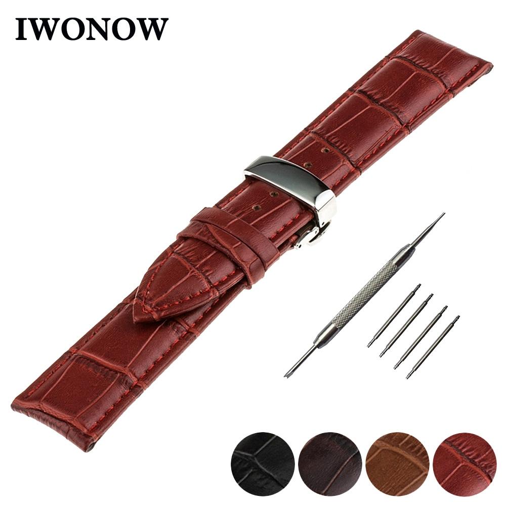 Genuine Leather Watch Band 20mm for Motorola Moto 360 2 42mm Men 2015 Stainless Butterfly Buckle Strap Wrist Belt Bracelet +Tool
