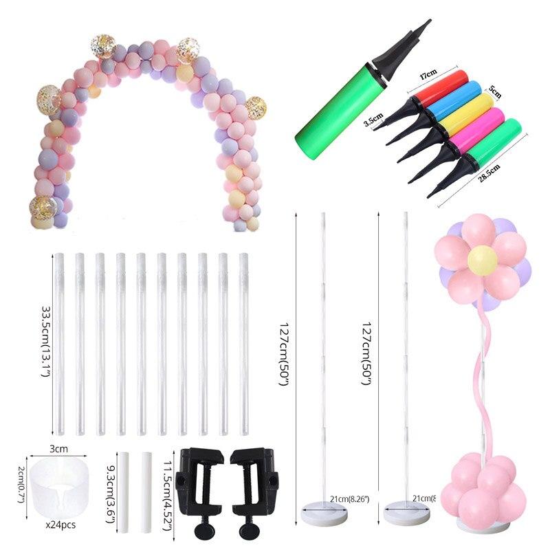 49 Uds Kit de arco de globos soporte de soporte para fiesta de cumpleaños decoración globo para niños palo accesorios para inflar suministros de boda