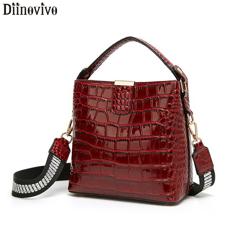 Bolso de diseño de cocodrilo Retro DIINOVIVO, bolso de piel de patente para mujer, bolso de mano, pequeño bolso de hombro, cartera WHDV1157