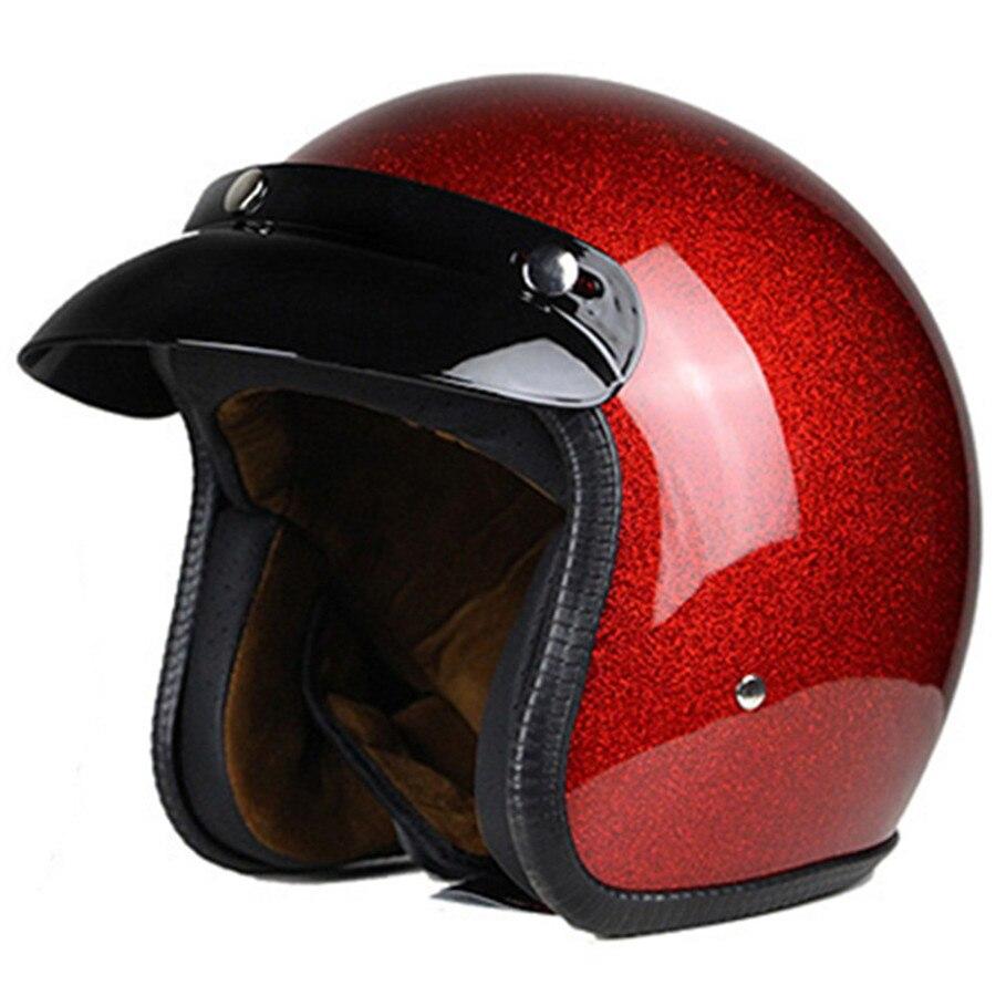 Casco de motocicleta Vintage Vega para hombres y mujeres, diseño de la cara abierto Retro clásico ligero con punto certificado para moto Cruiser M