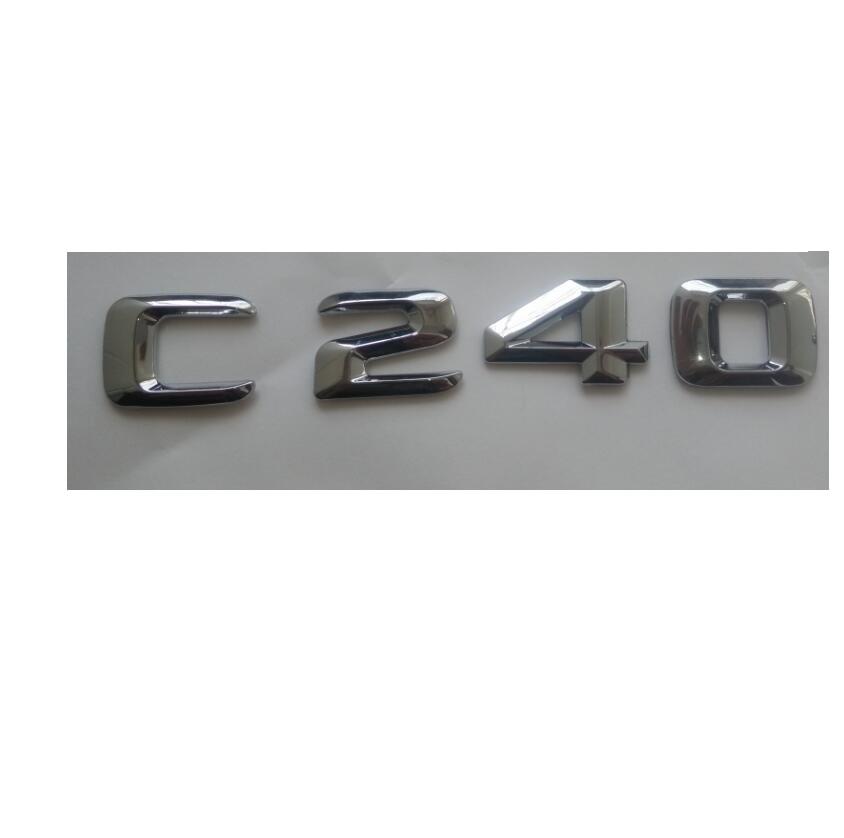 Chrom 3D ABS Kunststoff Auto Stamm Hinten Buchstaben Abzeichen Emblem Aufkleber Aufkleber für Mercedes Benz C Klasse C240