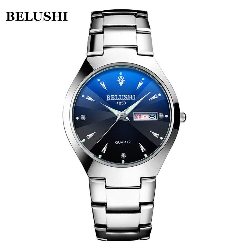Relojes BELUSHI a la moda para hombre, reloj de negocios de acero completo, reloj de cuarzo deportivo de marca de lujo para hombre