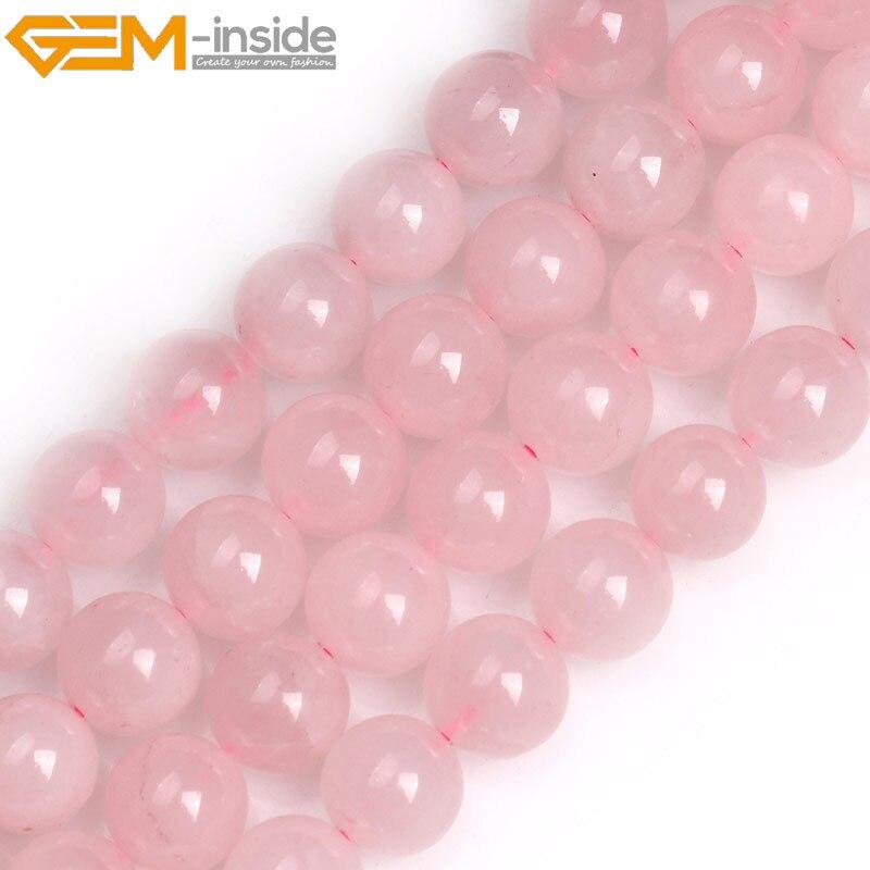 Cuentas de colgante de cuarzo rosa redondas naturales para hacer joyas, collar de pulsera de cuentas sueltas de 15 pulgadas, regalos DIY, joyería al por mayor