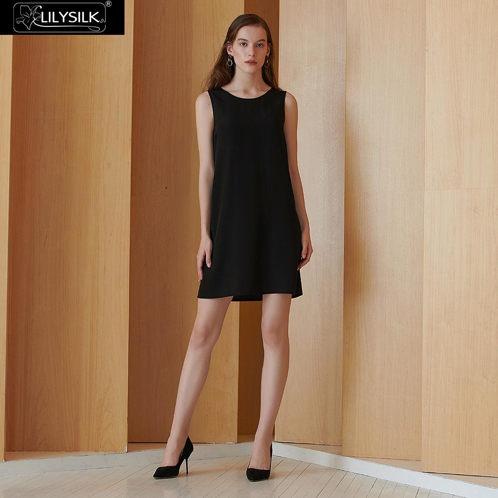 LilySilk Silk Dress Women Summer 16MM Sleeveless V Neck Back Shift Ladies Clearance Sale Free Shipping