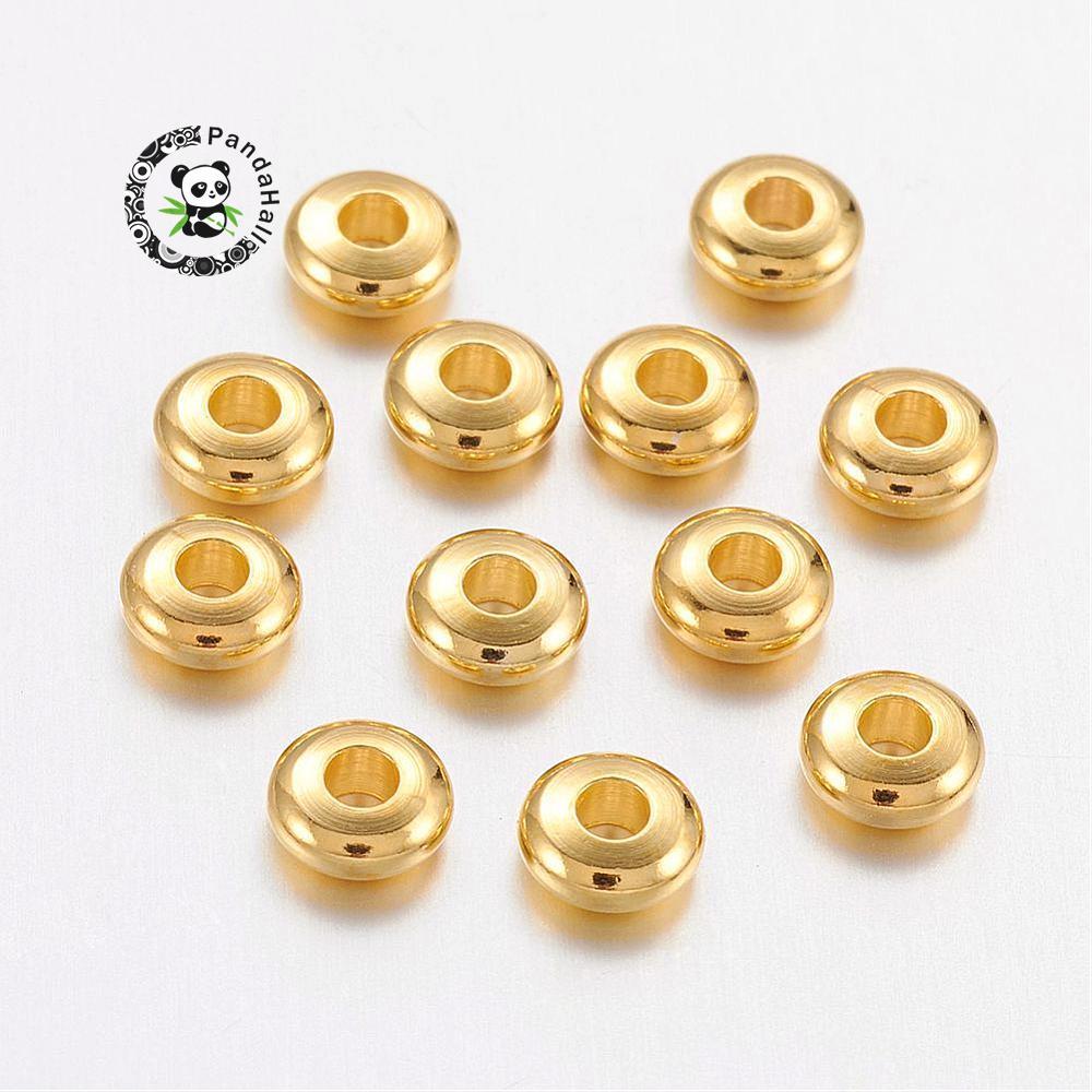 Latão Bead Espaçadores, ábaco, dourado, 5x2mm, Hole 1 ~ 1.5mm