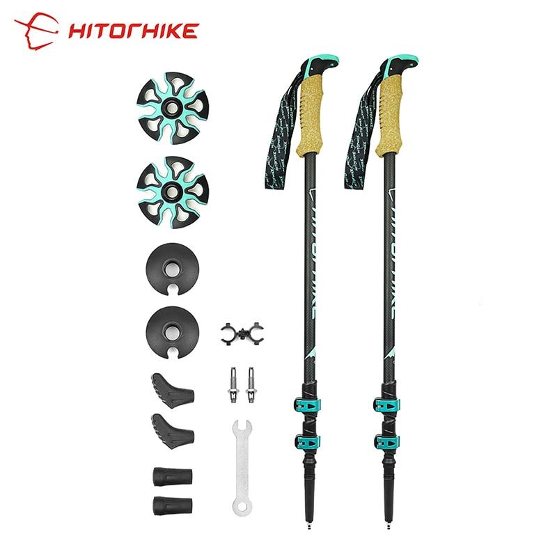 Bastón telescópico de fibra de carbono con bloqueo rápido externo para Senderismo y montañismo, bastón nórdico para caminar, bastón para disparar, bastón para Senderismo 195g/pz