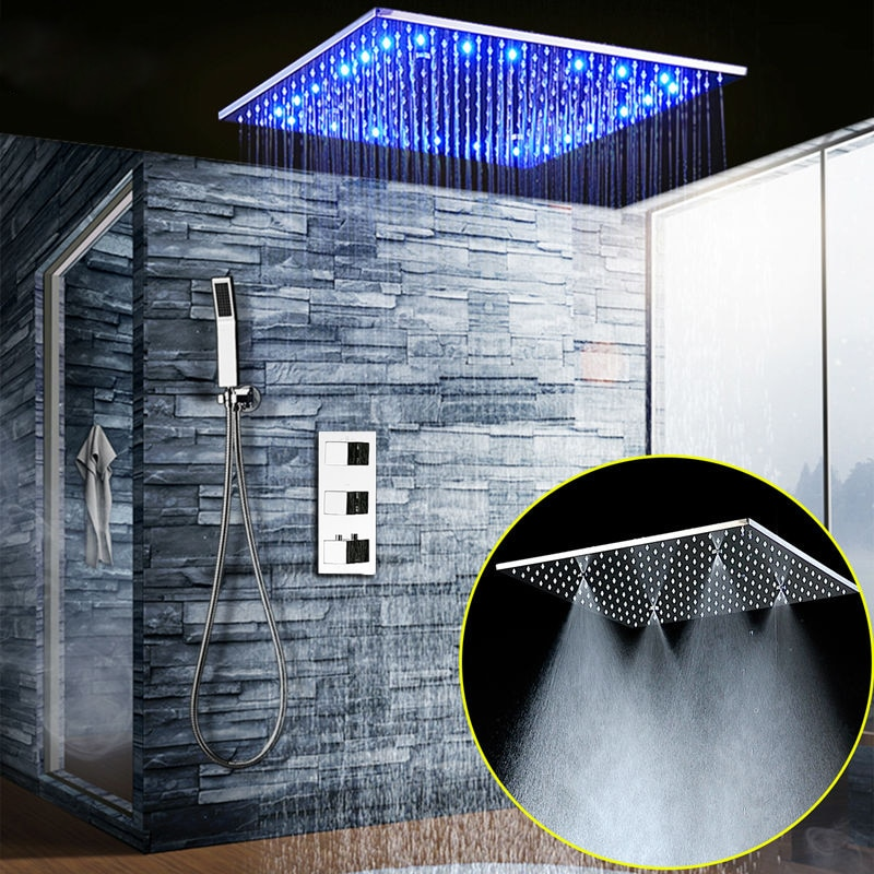 large flow thermostatic valve with led ceiling shower head quick open mixer luxury bath shower rain waterfall mist massage z5422 Bathroom Fixture Shower System 20 Inch Led Mist Rain Shower Ceiling Shower Faucet Set Panel Thermostatic Mixer/ Handheld Shower