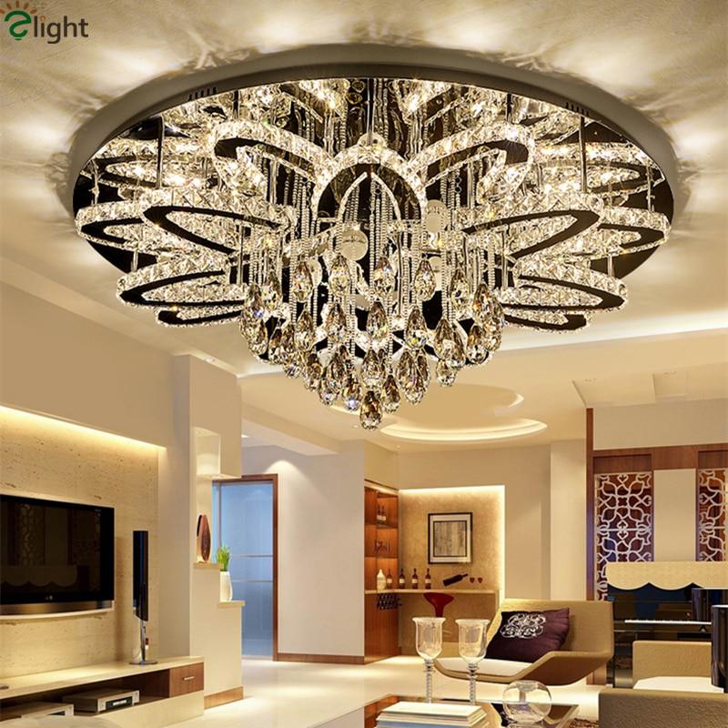 Modern Foyer Luxury Luminarias Dimmable Led Ceiling Chandelier Lustre K9 Cristal Stainless Chrome Led Chandelier