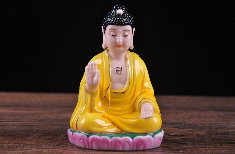 Amitabha ceramic Buddha crafts automotive interior decoration living room Home Furnishing desktop