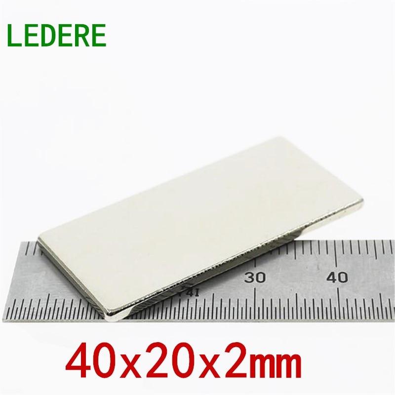 Ledee 5/10 Uds 40x20x2 imán de neodimio fuerte imán de tierra rara 40*20*2mm níquel 40mm x 20mm x 2mm imán