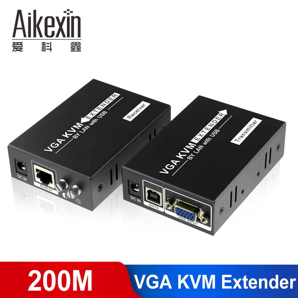 Aikexin VGA удлинитель 200 м, VGA USB KVM удлинитель через LAN cat5/cat 6 UTP удлинитель до 660ft для управления клавиатурой и Мышкой