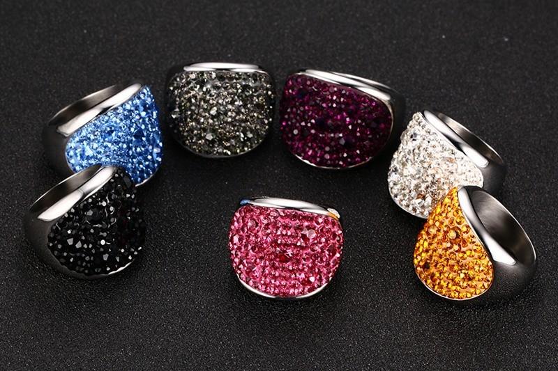 Crystal Rhinestone Stainless Steel Wedding Rings For Women 5