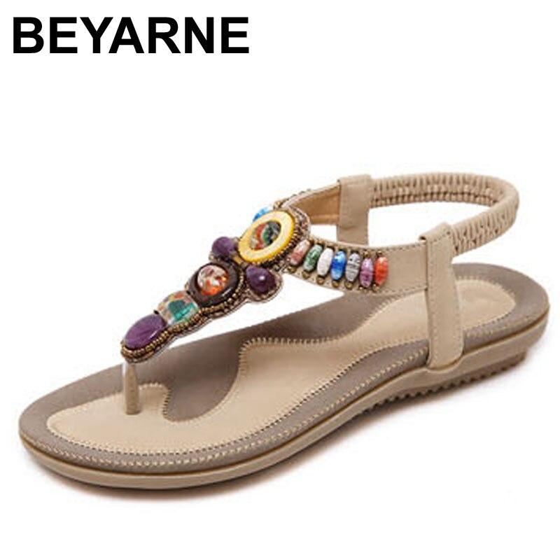 Beyarne mulher sandálias grânulo boêmio clipe toe confortável thong sapatos boho elástico faixa traseira cinta plana sapatos de praia mais tamanho 41