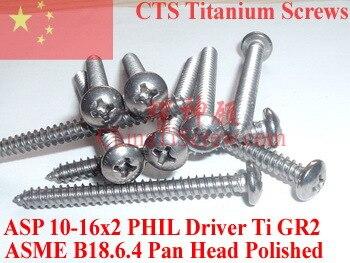 Parafusos de titânio 10x2 Pan Head 2 # Phillips Motorista Polido 50 pcs Ti GR2