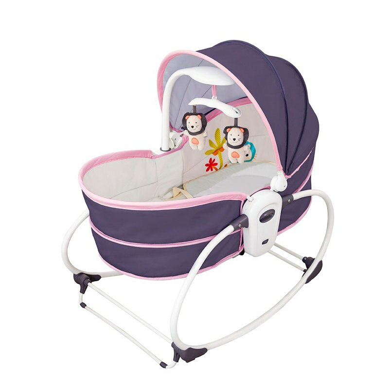 Mecedora eléctrica para bebé 5 en 1, mecedora para cuna eléctrica, mecedora para bebé, cesta para sentarse y levantar, balancín rosa para bebé