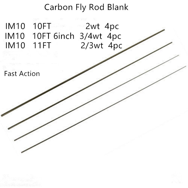IM10-10FT 2wt/106 3/4wt/11FT 2/3wt caña de pescar de carbono en blanco acción rápida