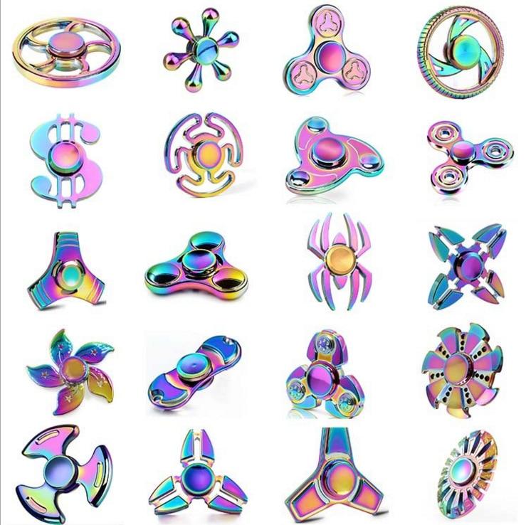 Tri-Spinner-Спиннер Five Beeds, цветной треугольное колесо в виде звезд, летучей мыши и сердца, металлический ручной Спиннер-антистресс