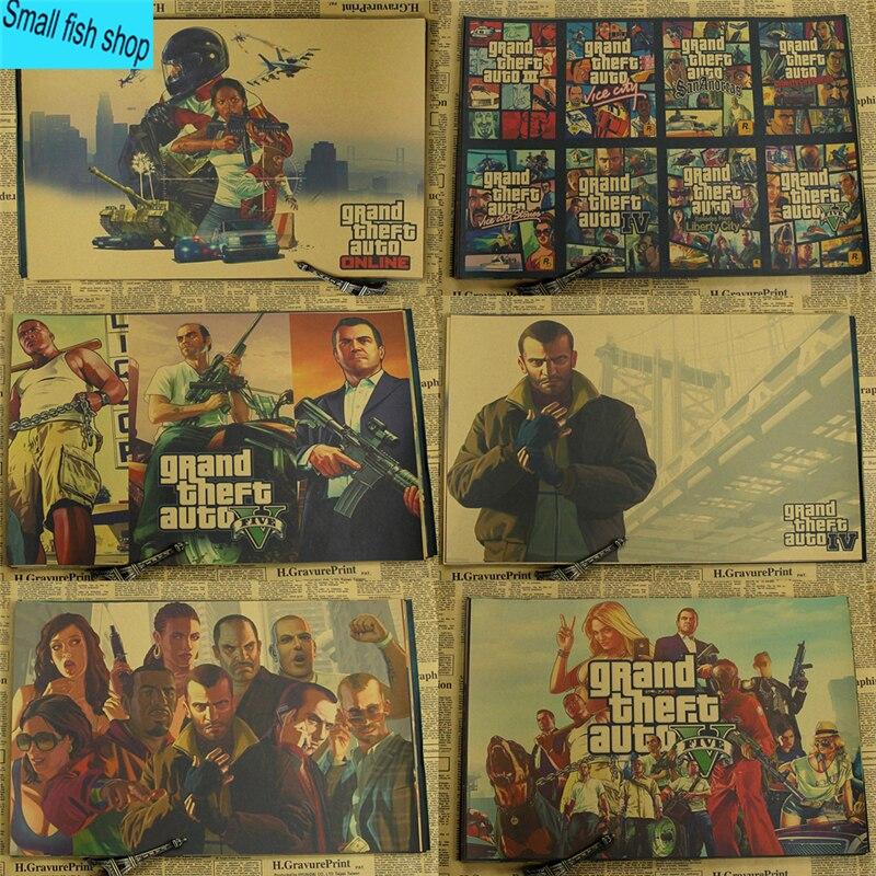 Póster de juego de autos Grand Theft decoración del hogar póster de Papel kraft de juego