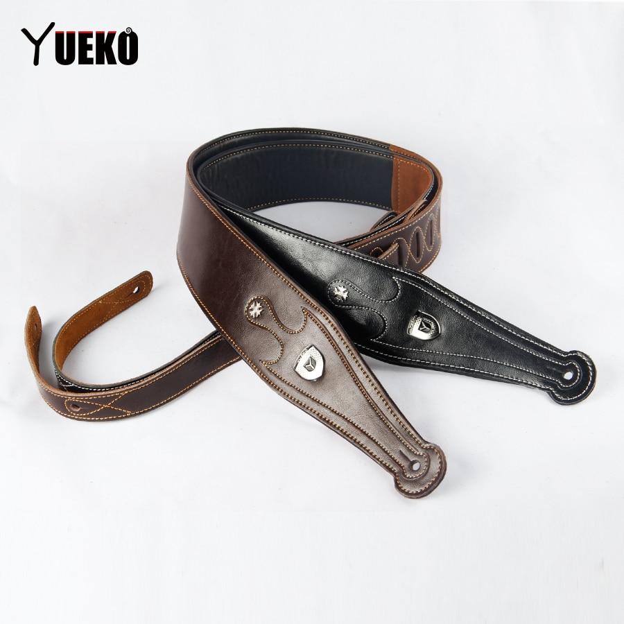 YUEKO Genuine Cow Leather Cowhide Soft Durable Guitar Strap Acoustic Electric Guitar Strap Bass Strap Adjustable Guitar Belt