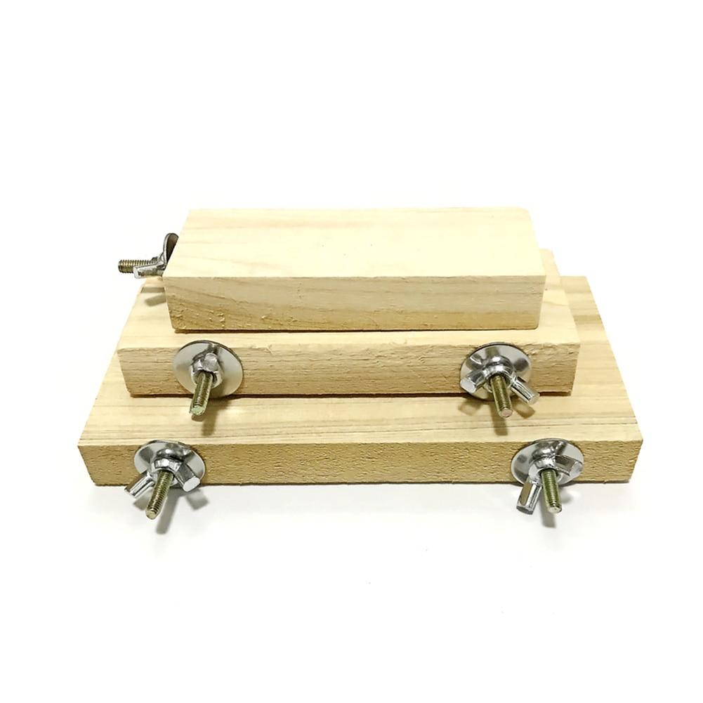 El mejor plataforma de soporte de madera juguete pata de molienda limpio jaula accesorios para loro hámster 889