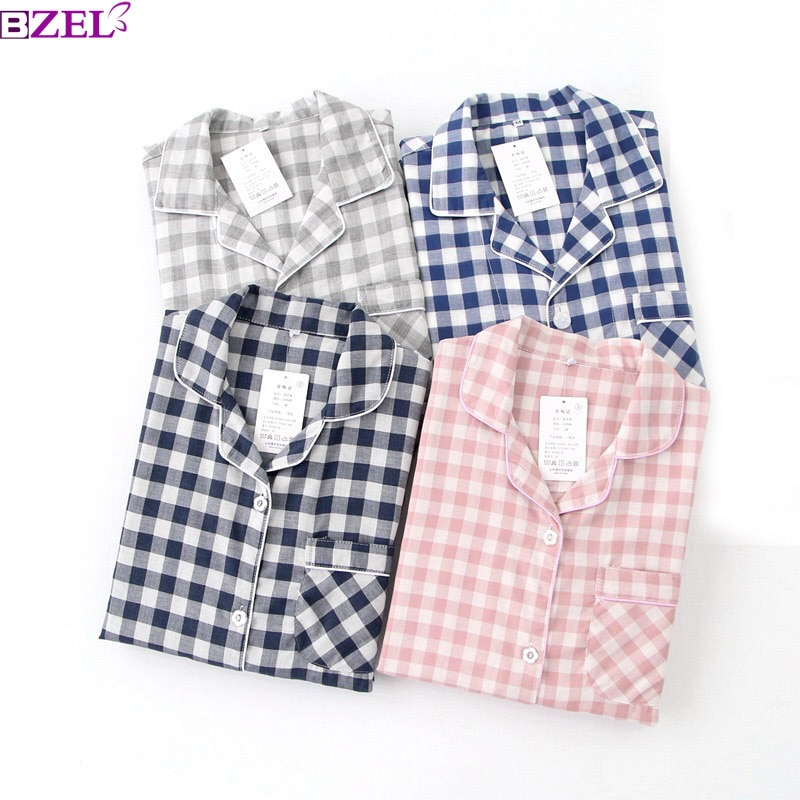 Lovers Spring New Pajama Set Plaid 100%Gauze Cotton Men And Women's Couple Sleepwear Turn-Down Collar Household Wear Casual Wear