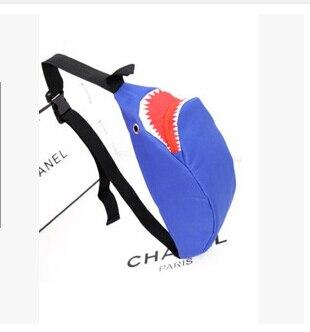 Novedad de verano, bolso de lona con personalidad de tiburón para mujer, bolsa de pecho coreana con bolsillos pequeños, bolsa de hombro de ocio