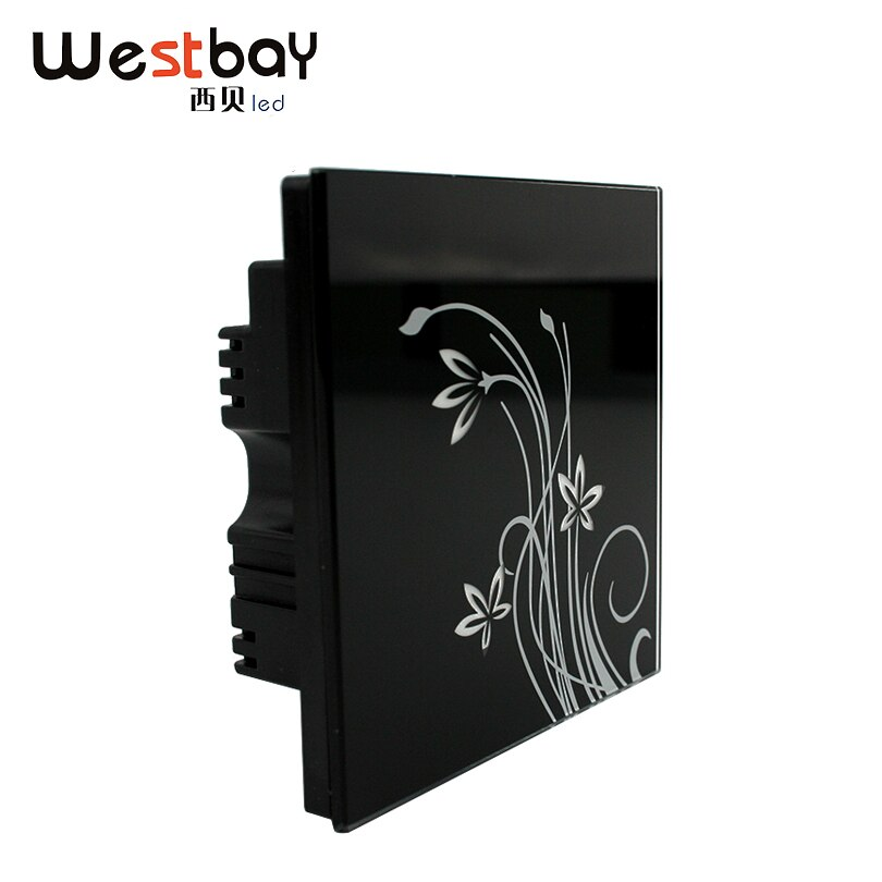 Painel de interruptor de toque de vidro de cristal preto de westbay, 3 gangues 2 way ,110-250 v, interruptor de parede de design de flor de toque de luzes