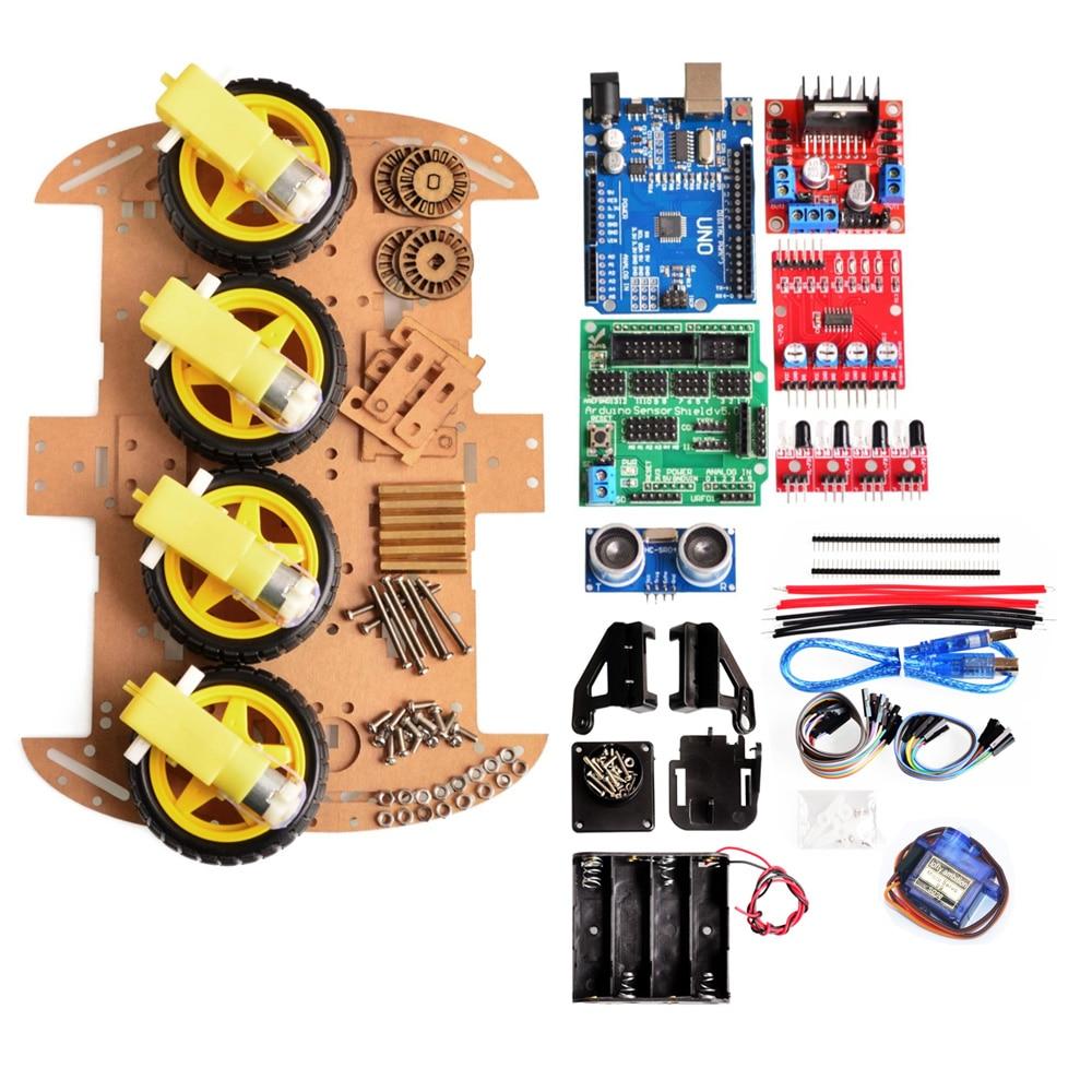 تجنب تتبع المحرك الذكية سيارة روبوت الهيكل عدة سرعة التشفير صندوق بطارية 4WD وحدة أشعة فوق الصوتية لمجموعة اردوينو
