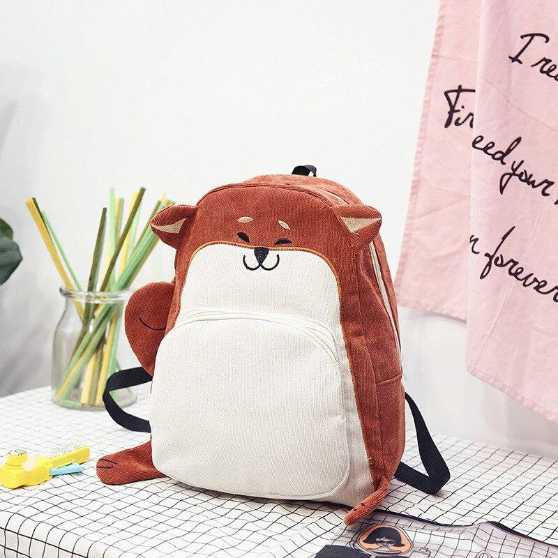 Mochila LJL para mujer, mochila de lona con zorro bonito, mochila Vintage para mujer, mochila para niñas, Escuela (naranja rojo)