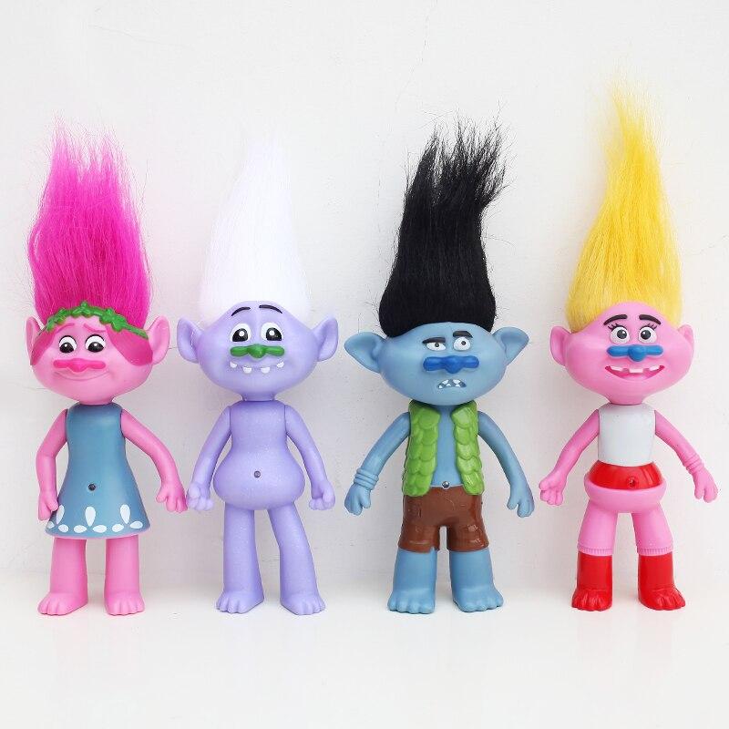 4 unids/set 2016 película trolls de DreamWorks 6cm PVC figuras de acción juguetes para niños regalo de Navidad